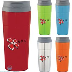 This double wall stainless colorful tumbler will delight you Easy drink through thumb slide push on lid The thumb slide color matches the body BPA free Bike Water Bottle, Custom Water Bottles, Lunch Cooler, Insulated Tumblers, Stainless Steel Bottle, Custom Tumblers, Ballpoint Pen, Vacuums, Mugs