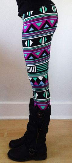 Women leggings, Flower Leggings, Colorful   Leggings, Yoga Leggings, Pattern Leggings, flowers  Leggings, tribal leggings,   aztec leggings