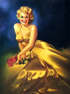 Golden Girl cheesecake by Runci. Note how well the satin of the gown is painted, in oils.