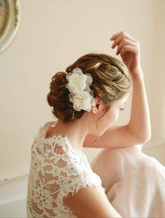 Flower bridal wedding hair pin bridal chiffon flower by woomeepyo