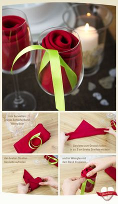 Easy rose decoration for dinner or Valentine's
