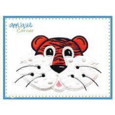 Tiger Face Boy Applique Design