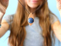 This Rustic, Mountain / Forest Style Necklace is made with Oak Wood & Sodalite Stone  Great gift for yourself or someone else with interests like nature, hiking, metaphysical healing, chakras, yoga, animal lovers, outdoors, meditation, crystals, trees, natural remedies, holistic work, boho style jewelry / accessories, rustic decor / jewelry and everything in between. - OAK wood is one of the most known tree species for its metaphysical properties. It represents strength an...