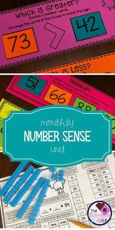 First grade number sense activities. This unit is a perfect daily activity for your students. It has a daily practice sheet and 5 independent student centers. Students will work with a hundreds chart and will be practice place value, greater than, less than, ordering numbers and many more activities. Common core aligned!