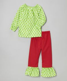 Take a look at this Lime Quatrefoil Tunic & Ruffle Leggings - Toddler & Girls by Haley and the Hound on #zulily today!