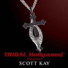 PROTECTING THE CROSS GUARDIAN ANGEL Scott Kay Sterling Silver Pendant Necklace with Black Spinel Stones | Tribal Hollywood