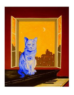 The Blue Cat on Piano moonlight Print 85x11 Free by ArtCalifornia, $20.00