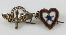 WWII sweetheart heart pin with wings and chain sterling