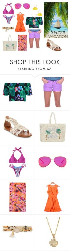 """""""Welcome to Paradise: Tropical Vacation"""" by holly32196-1 on Polyvore featuring New Look, Vintage Havana, Accessorize, AQS by Aquaswiss, Matthew Williamson, NAKAMOL, Lucky Brand, Cara Couture and TropicalVacation"""