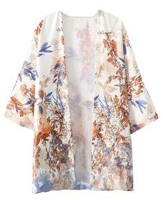 Birds-print Half-sleeves Loose Kimono
