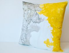 Yellow and grey abstract watercolor handpainted 16x16 silk throw pillow cover Made to Order on Etsy, $42.85 AUD
