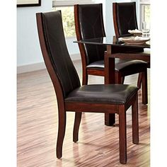 A Line Furniture Monaco Style Wood Framed Upholstered Dining Chairs (Set of 2)
