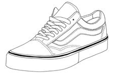 Vans Shoes Coloring Pages Vans Old Skool, Van Drawing, Shoe Drawing, Sneakers Sketch, Shoe Template, Flat Drawings, Shoe Sketches, Sneaker Art, High Top Vans