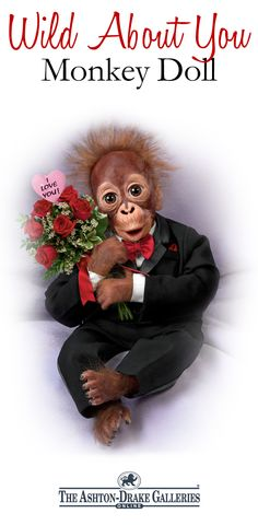 "So Truly Real® monkey doll wears handsome tuxedo with a red kerchief and bowtie. Holds bouquet of fabric roses with pink ""I Love You!"" heart."