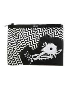 Black and white leather Kenzo clutch with print throughout, black woven interior lining, single pocket at interior wall and zip closure at top. Shop Kenzo consignment handbags at The RealReal.