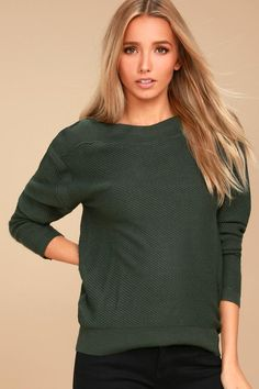 #Lulus - #Lulus EVIDNT - Mellow Move Forest Green Knit Sweater - Size Large - Lulus - AdoreWe.com