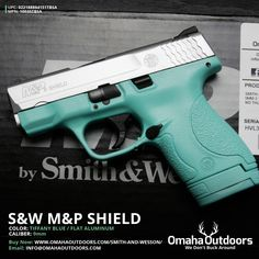 Smith and Wesson M&P Shield Tiffany Blue 9mm 7 / 8 RDS 3.125″ Handgun - Omaha Outdoors $579