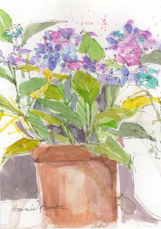 Signed Original Watercolour -Hydrangea - by Annabel Burton Pen And Watercolor, Watercolour Painting, Watercolours, Hydrangea, Contemporary Art, The Originals, Pictures, Floral, Cards