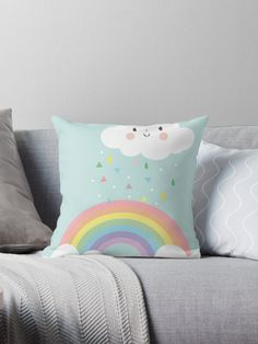 Rainbow Happy Little Cloud Pastel Rain and Sunshine Baby Nursery Art Print Canvas Design • Also buy this artwork on home decor, apparel, stickers, and more.