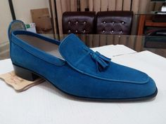 Handmade men leather shoe, blue loafer for men, formal suede leather shoes men - Casual