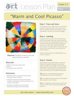 "So Handy! Free PDF Art Ed Lesson Plan Download ""Warm Cool Picasso"""