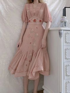 Embroidered Rose Puff Sleeve V Neck Vintage Cotton Dress Vintage Cotton, Vintage Roses, Chifon Dress, Vintage Outfits, Vintage Clothing, Cotton Dresses, Vintage Inspired, Chiffon, Two Piece Skirt Set