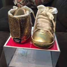 Baby juicy couture sneakers Baby juicy couture sneakers gold sparkle, cream laces, Velcro closure in back of each shoe, never worn in box, box has no top baby size 3 (6/9 months) Juicy Couture Shoes Sneakers