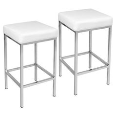 Alicia Kitchen Counter Stool (Set of White Kitchen Counter Stools, Bar Stool Chairs, Backless Bar Stools, Leather Bar Stools, Modern Bar Stools, Rubber Flooring, Foot Rest, Modern Decor, Pu Leather
