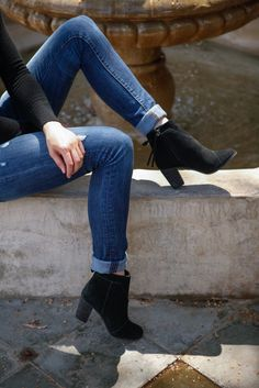 fda3dfa651f Pair your rolled jeans with black suede TOMS Lunata Booties for a classic  fall look.