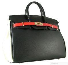 7ed412cfdc4 AUTHENTIC CARBOTTI BLACK WHITE RED BIRKIN STYLE LEATHER HANDBAG W  LOCK AND  KEY Black White