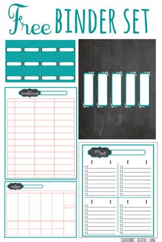 Free Printable Binder Set. Planner Printables {To Do List, My Schedule and Weekly Planner} and Chalkboard Labels.