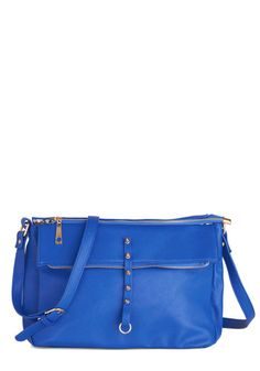Bright Companion Bag - Blue, Gold, Solid, Exposed zipper, Studs, Faux Leather