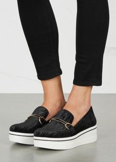Binx black embossed velvet flatforms