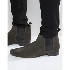 ASOS Chelsea Boots in Suede ($37) ❤ liked on Polyvore featuring men's fashion, men's shoes, men's boots, mens slip on shoes, asos mens shoes, mens pointed shoes, mens pointy boots and mens slip on boots