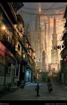 cyberpunk, city, 'Urban Sun' by Vladimir Manyuhin Cyberpunk City, Ville Cyberpunk, Cyberpunk Kunst, Futuristic City, Futuristic Architecture, Cyberpunk Anime, Cyberpunk Fashion, Futuristic Technology, Fantasy Places