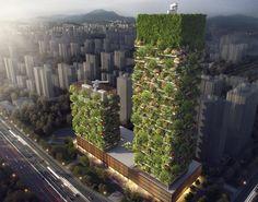 Nanjing Vertical Forest,(Stefano Boeri Architetti, 2016-18). Il primo Bosco Verticale in Asia.  Situate nel Distretto Nanjing Pukou, le due torri che compongono il complesso saranno caratterizzate dall'alternarsi di balconi e vasche verdi, sul modello del Bosco Verticale di Milano.  Lungo le facciate, 600 alberi di grandi dimensioni, 500 alberi di taglio medio (per un totale di 1.100 alberi di  23 specie autoctone) e oltre 2.500 arbusti e piante a caduta su una superficie di 6.000 mq.