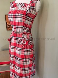 Adorable 1950s KAY WHITNEY Red and White Plaid Cotton Sleeveless Frock Dress with Buckle Adornment and Matching Belt-S by FuturaVintage on Etsy https://www.etsy.com/listing/489019520/adorable-1950s-kay-whitney-red-and-white
