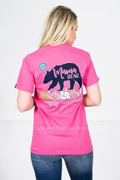 Mama Bear | Dark Pink | Simply Southern Simple Southern Shirts, Simply Southern, Country Girls Outfits, Fashion Brand, My Style, Tees, Casual, Favorite Things, Daddy