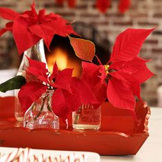 Red Poinsettias & Clear Jars - simple, yet beautiful! More holiday arrangements: http://www.bhg.com/christmas/indoor-decorating/christmas-flower-arrangements/