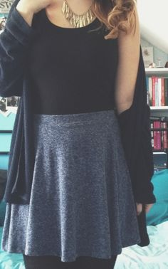 comfy skirt and cardi