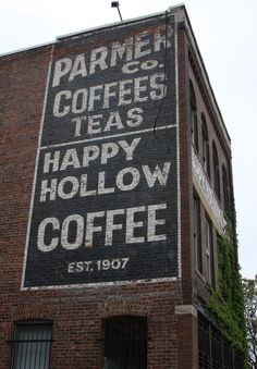 Parmer Co. Coffee Teas | Happy Hollow Coffee Est. 1907 Ghost Sign in Omaha, NE, USA