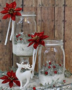 So simple yet effective these DIY Christmas mason jar decorations will look great as a table centerpiece