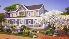 IsegrimSims — This peaceful home with a wonderful front yard and. The Sims, Sims Cc, Sims 4 House Building, Sims House Plans, Beautiful Houses Interior, Beautiful Homes, Sims 4 House Design, Cartoon House, Peaceful Home