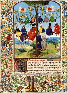 French noble family tree, 15th century illuminated manuscript.