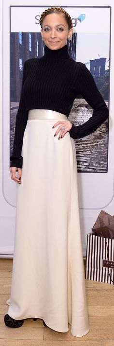 Nicole Richie has a fresh alternative to your cocktail dress or LBD - a maxi skirt paired with sweater #outfitidea