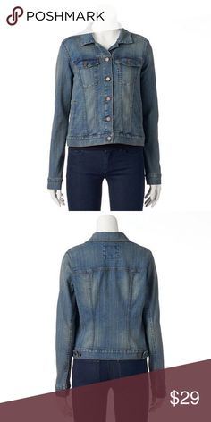 """🎆MOVING SALE🎆 Lightly Jean Jacket Sonoma Life Style. Medium wash jean jacket. 78% cotton 20% polyester and 2% spandex. 4 pockets, Button front, and long sleeves. Worn once - no stains or holes. Measurement laying flat: bust: 20"""" length: 23.5"""". (29) kohl's Jackets & Coats Jean Jackets"""