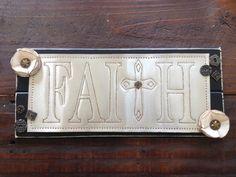 """Punch Tin """"Faith"""" Black Wood Sign"""