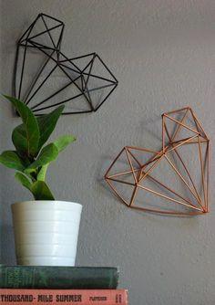 Oleander and Palm: Geometric Himmeli Heart Tutorial DIY Geometric Heart, Geometric Wall Art, Diys, Heart Crafts, Diy Art, Diy And Crafts, Easy Diy, Crafty, Heart Wall Decor