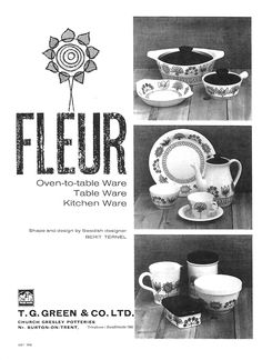 T.G.Green 'Fleur' Trade Advertisement - July 1961 Burton On Trent, Kitchenware, Tableware, Cornishware, Pottery, Scandinavian Art, Green, Shapes, Casserole Dishes