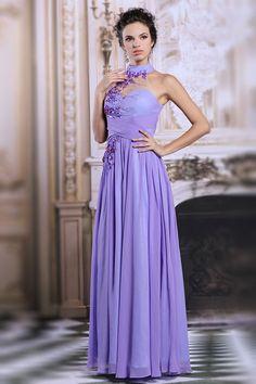 Schöne Lila Stehkragen A Linie Sequins Abendkleider aus Chiffon Persunshop